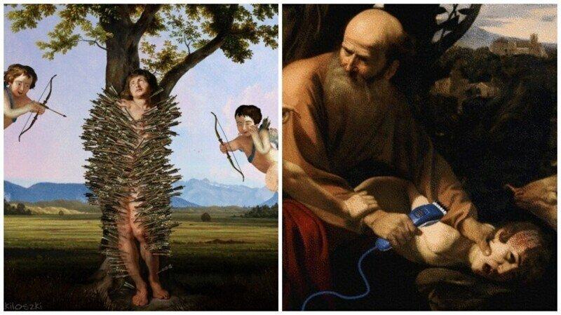 Забавный гиф-арт на основе знаменитых классических картин