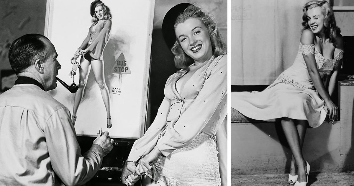Будущая суперзвезда Мэрилин Монро позирует для пинап-художника Эрла Морана в подборке фото конца 40-х годов