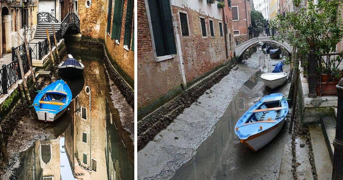 Знаменитые каналы Венеции пересохли из-за отливов