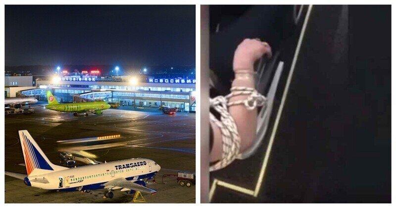 Пассажиры лайнера, следовавшего в Новосибирск,привязали надоедливую соседку к креслу