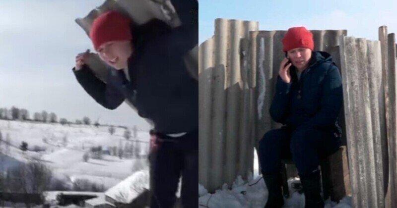 Жительница Пермского края перетаскала на гору шифер, чтобы построить телефонную будку