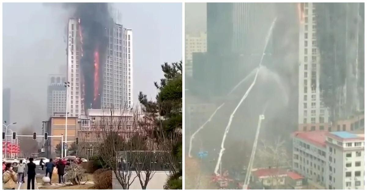 В Китае сгорел 110-метровый небоскреб