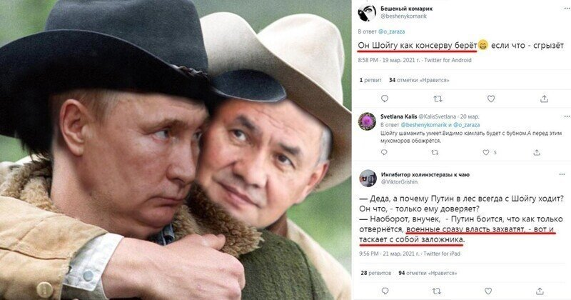 """""""Лучше бы китайцы вырубили Шойгу"""": реакция соцсетей на отдых Путина с министром обороны"""