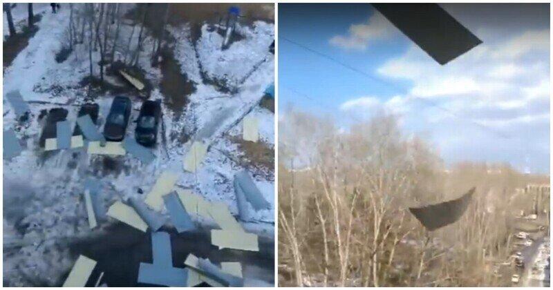 Листопад: падение профилированных листов с крыши в Комсомольске-на-Амуре