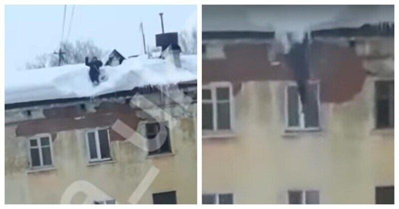 Мужчина упал с крыши четырёхэтажного дома и остался жив