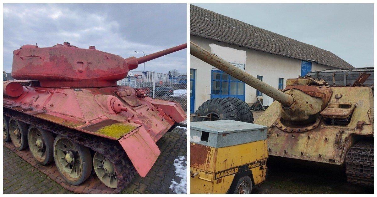 Житель Чехии решил сдать полиции розовый Т-34 и самоходку SD-100