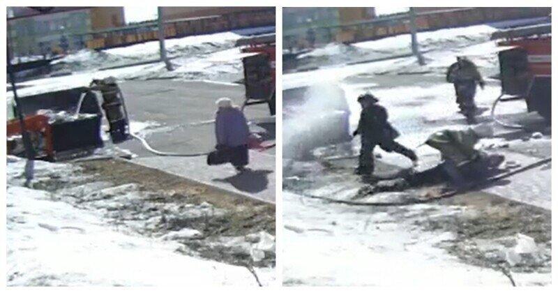 Разбушевавшийся пожарный рукав сбил с ног сотрудника МЧС и бабулю