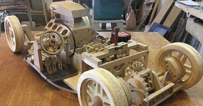 Старшеклассник создал полностью функциональную деревянную модель автомобиля с поразительной детализацией