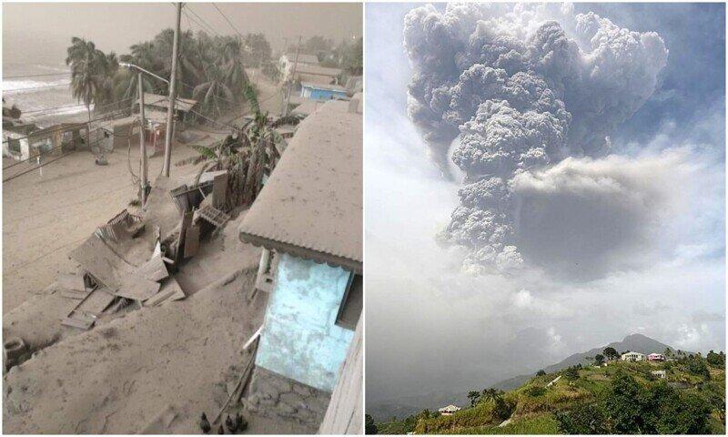 Вулкан Суфриер покрыл остров Сент-Винсент толстым слоем пепла