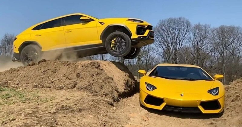 Все ради хайпа: блогер на Lamborghini Urus перепрыгнул через Aventador