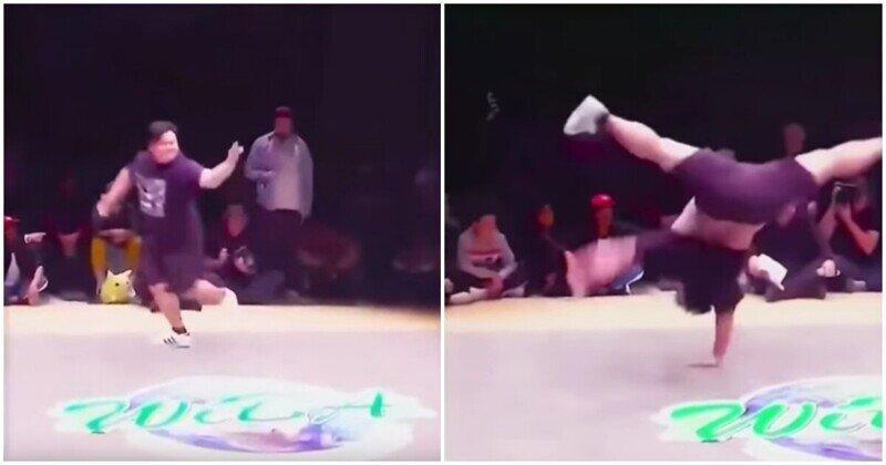 Толстячок танцует брейк-данс