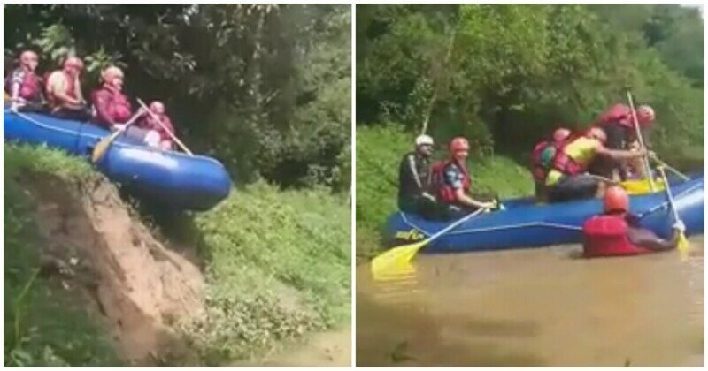Фееричный спуск надувной лодки на воду