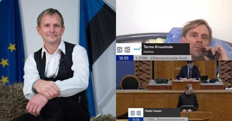 Эстонский депутат внезапно для себя поучаствовал в онлайн-заседании, лежа в постели с вейпом