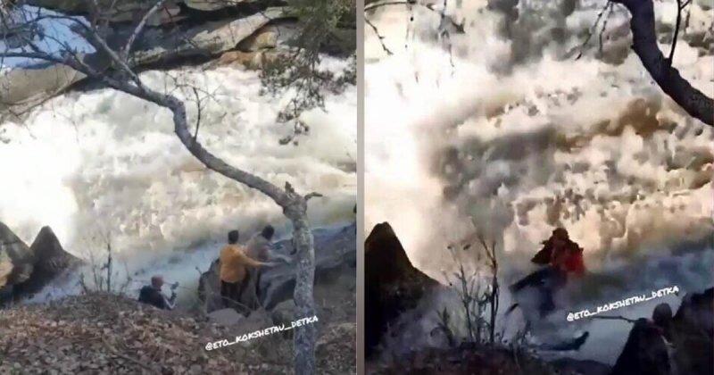 Спаслись просто чудом: папа с дочкой делали селфи у водопада