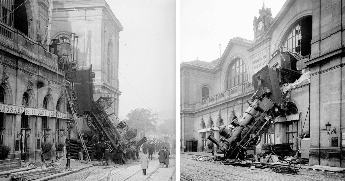 Крушение поезда на вокзале Монпарнас в редких снимках 1895 года