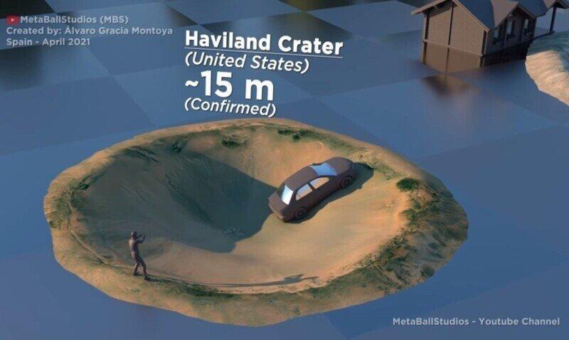 Крупные кратеры в 3D-визуализации