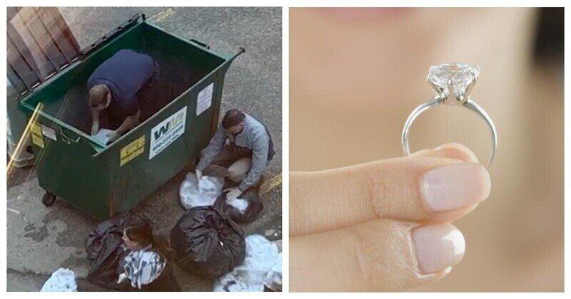 Ради потерянного кольца три банковских работника залезли в гору мусора