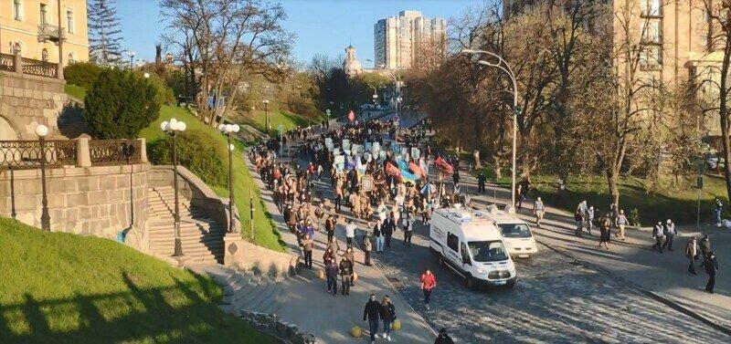Украинские фашисты провели в Киеве марш в честь дивизии СС
