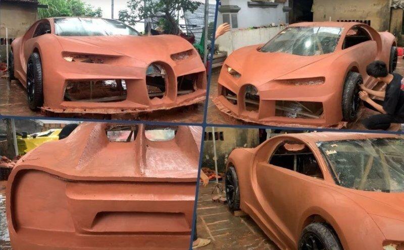 Фермеры из Вьетнама построили Bugatti Chiron своей мечты из глины