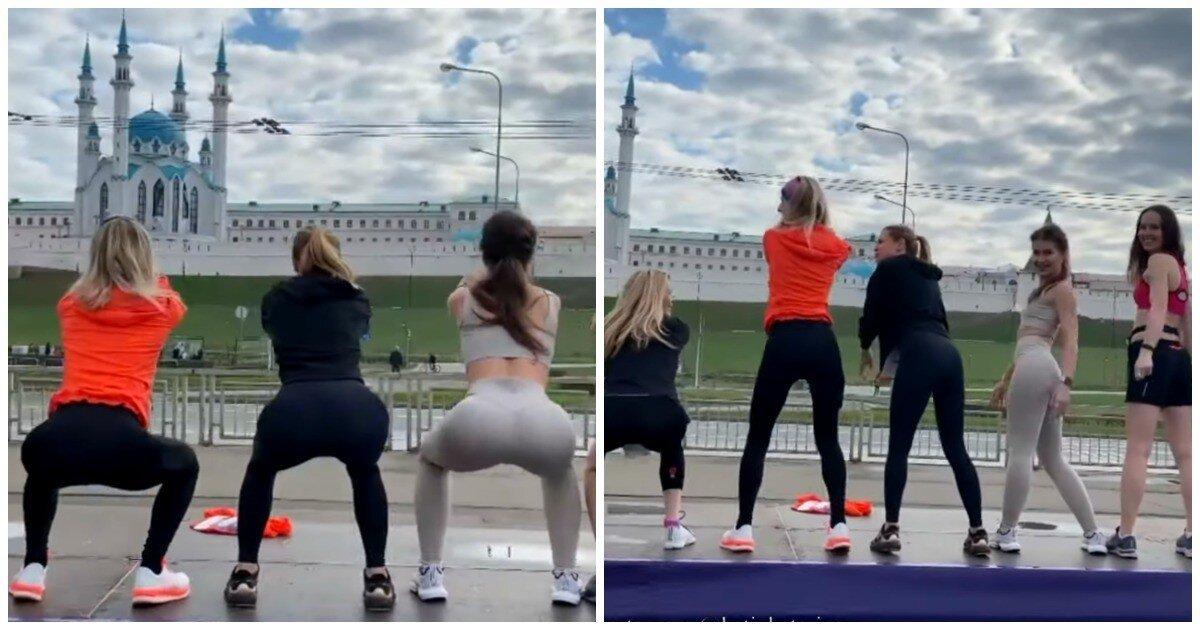 Приседающие на фоне мечети девушки возмутили мусульман в Казани
