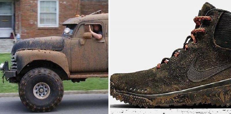 Обувь, похожая на автомобили, и автомобили, похожие на обувь