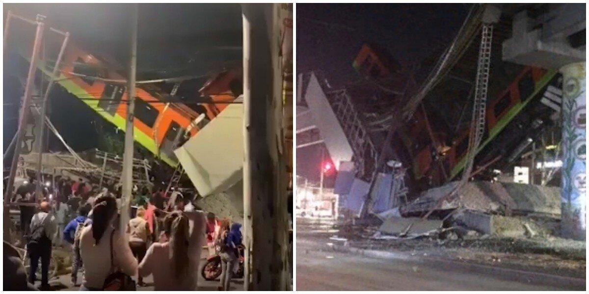 В Мехико метромост рухнул вместе с вагонами метро на машины