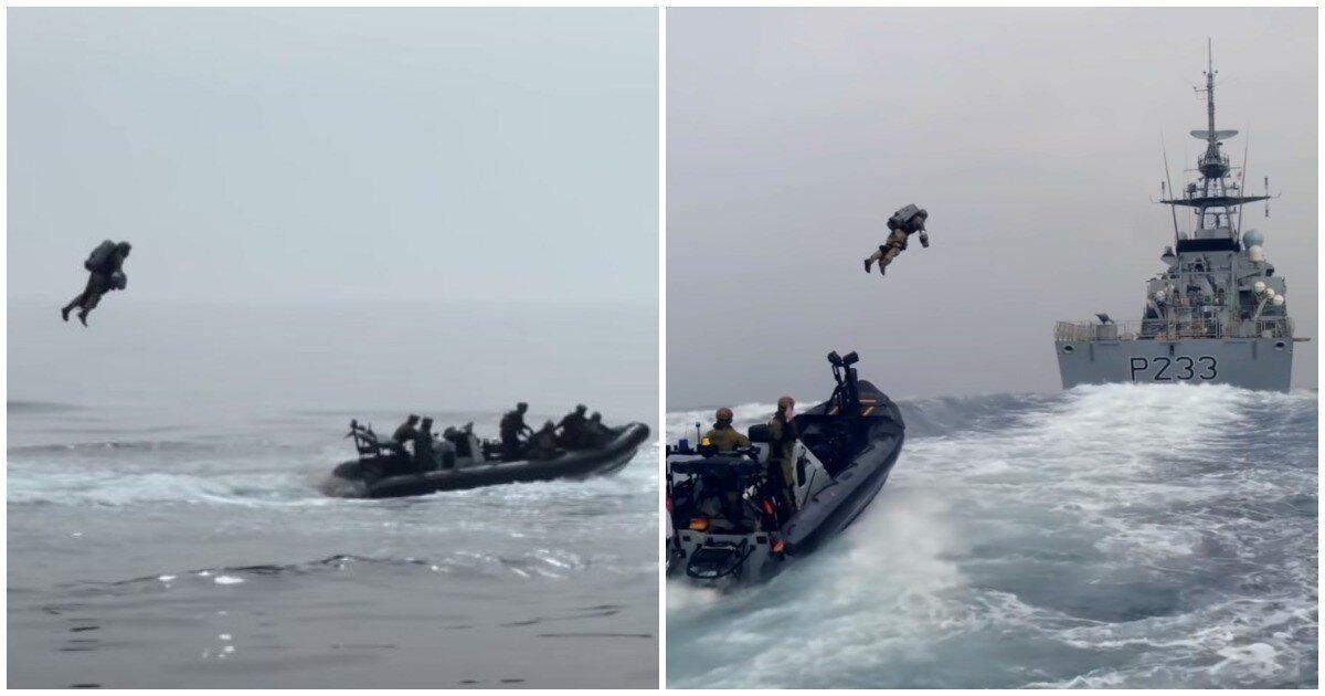 Британские морпехи показали захват корабля при помощи реактивных ранцев