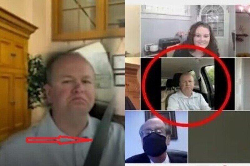 Сенатор из США, делая вид, что участвует в совещании по Zoom, ехал в авто и спалился из-за бага фона
