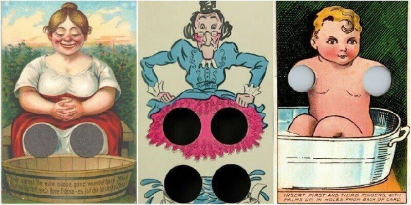 Забавные интерактивные открытки с отверстиями для пальцев, начало XX века