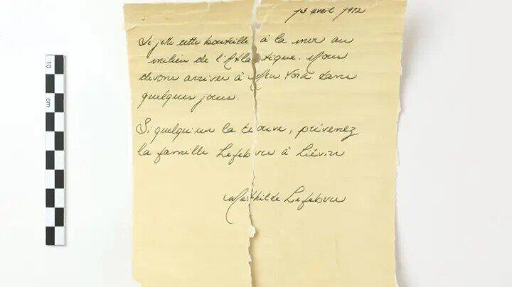 """В Канаде нашли бутылку с письмом, которая могла быть сброшена с """"Титаника"""""""