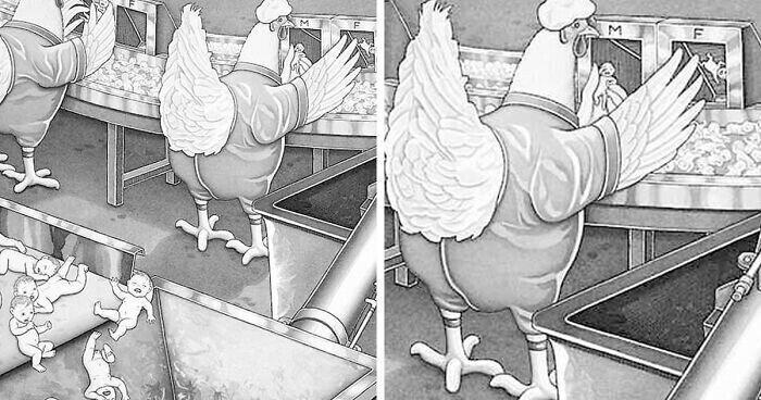 Художник создает иллюстрации, где люди и животные играют противоположные роли
