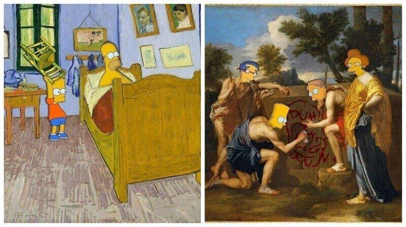 """Поклонник """"Симпсонов"""" переосмысливает классические полотна"""