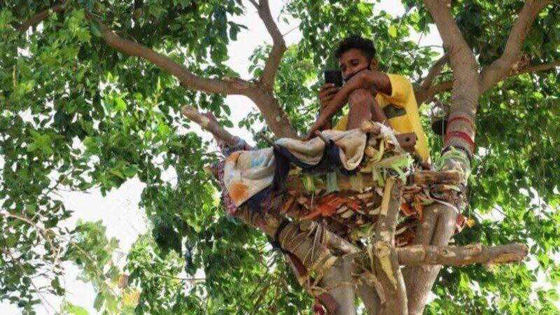Индиец придумал необычный способ изолироваться, чтобы не заразить родных COVID-19