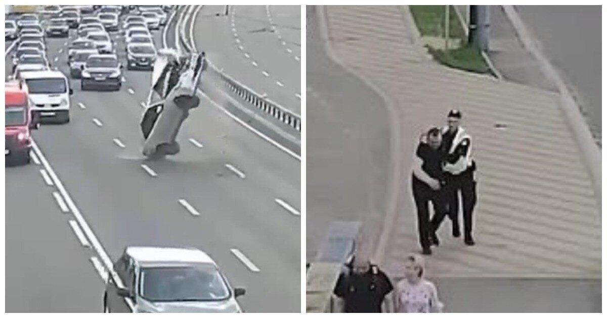 В Киеве пьяный водитель наехал на провода, перевернул машину и свалил вину на супругу