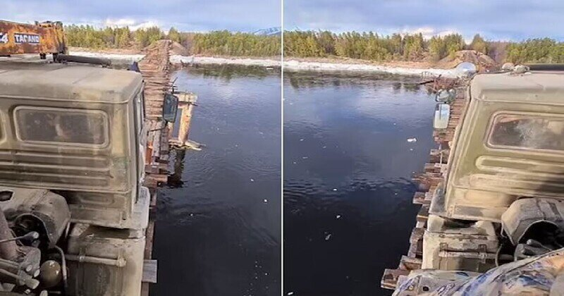 Видео: грузовик едет по узкому мосту через реку Витим (Забайкалье)