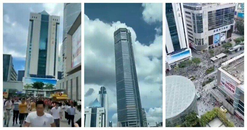 Сделано в Китае: небоскрёб затрясся и накренился