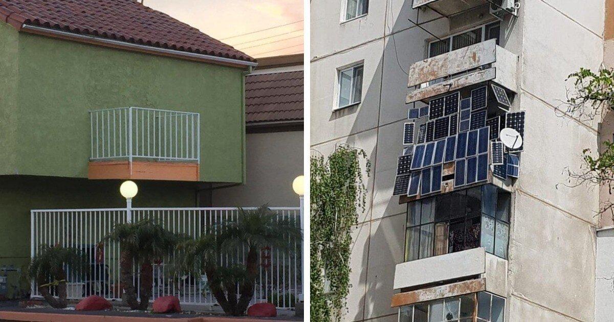 Смешные и причудливые балконы