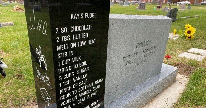 Кулинарный рецепт на надгробии