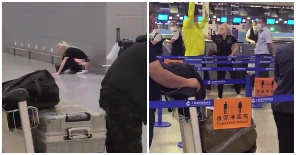 Пьяная россиянка справила нужду у стойки регистрации в аэропорту Шанхая