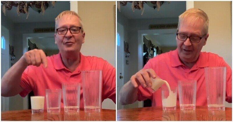 Эффектный фокус с молоком и стаканами