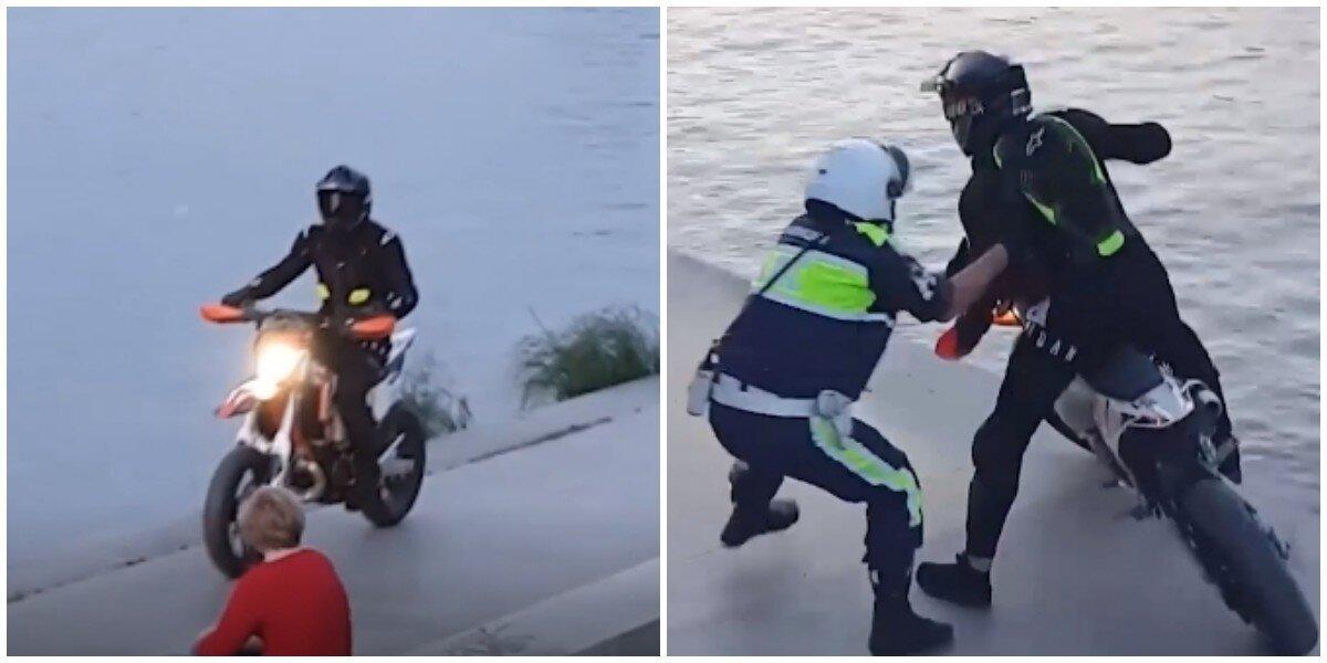 Погоня и эпичное задержание байкера на набережной в Екатеринбурге попали на видео