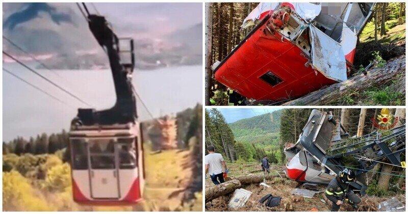 Момент падения кабины фуникулера в Италии попал на видео