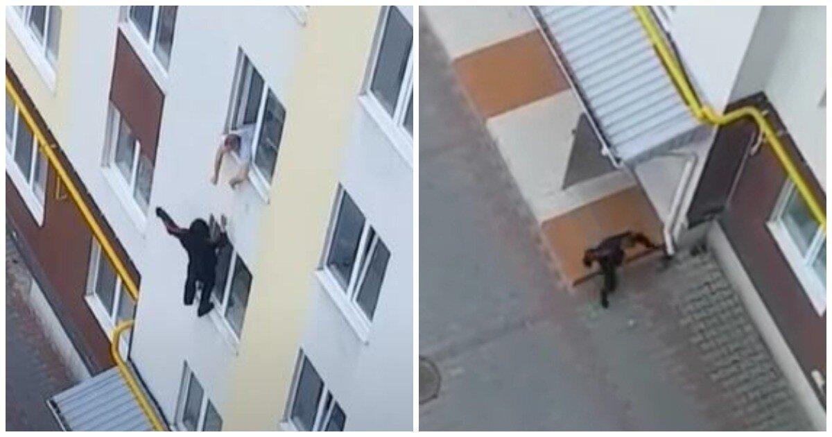 На Украине вор-форточник спрыгнул с четвертого этажа и убежал