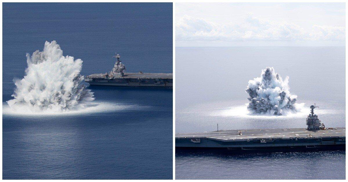 Американцы взорвали 18-тонную бомбу рядом с самым дорогим боевым кораблем в мире