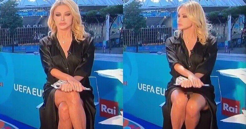 """Итальянская журналистка, обсуждая футбол, повторила трюк из """"Основного инстинкта"""""""