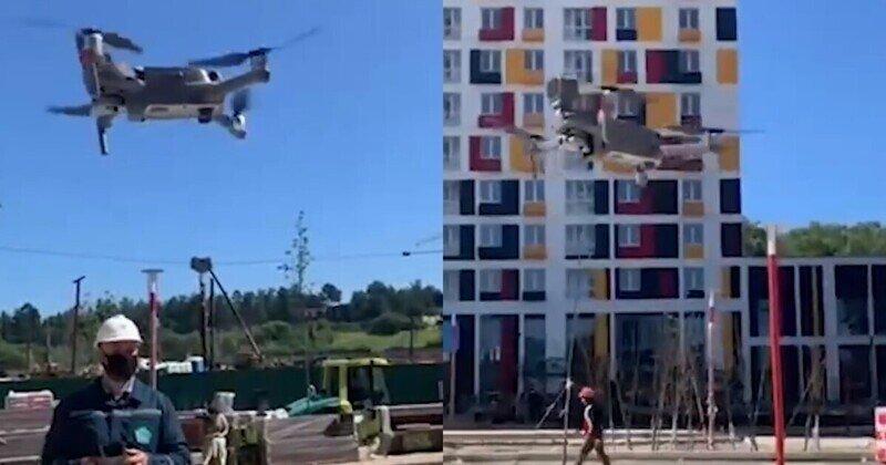 Welcome to City 17: стройплощадки Подмосковья облетают дроны и напоминают о масках и соцдистанции