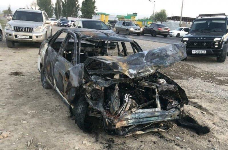 В Дагестане «Лада Приора» сгорела в результате ДТП