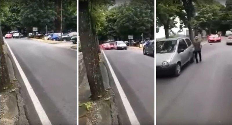 Невнимательный пожилой водитель старенького Renault подбил Ferrari