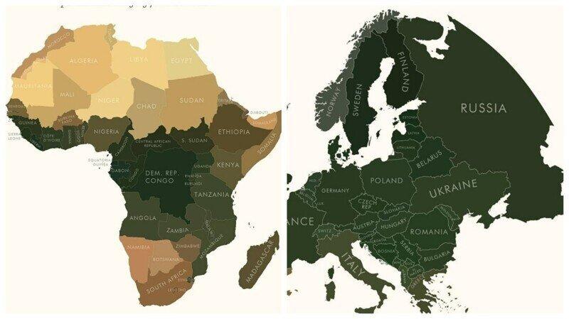Карта мира в усредненном цвете, полученная с помощью анализа спутниковых снимков