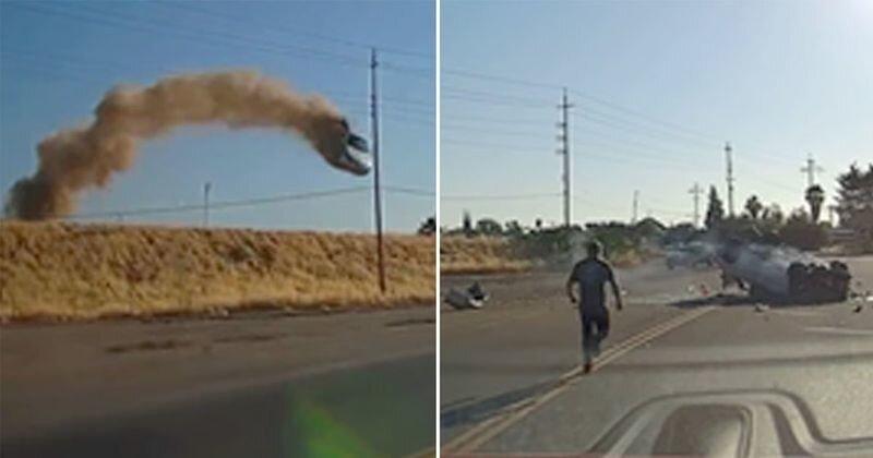 """Прыжок в стиле """"Придурков из Хаззарда"""": автомобиль пролетел несколько десятков метров и упал на дорогу"""